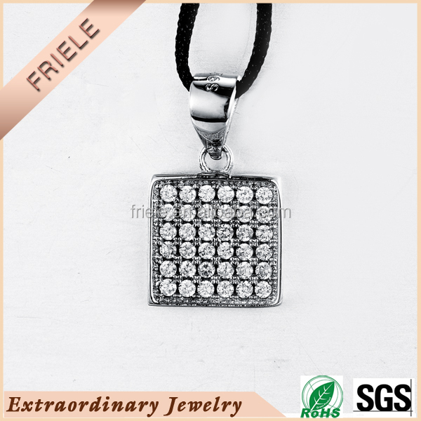 2015 wholesale women silver jewelry accessories, shining square shape cz stone 925 steling silver pendant