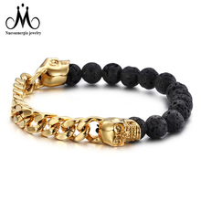 Hip Hop Gold Skull Stainless Steel Lava Bead Bracelet Men Jewelry