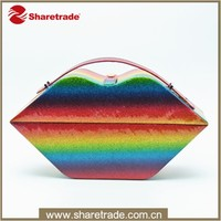 OEM Sexy Lip Shaped Rainbow Empty Makeup Case, Colorful Cosmetic Box