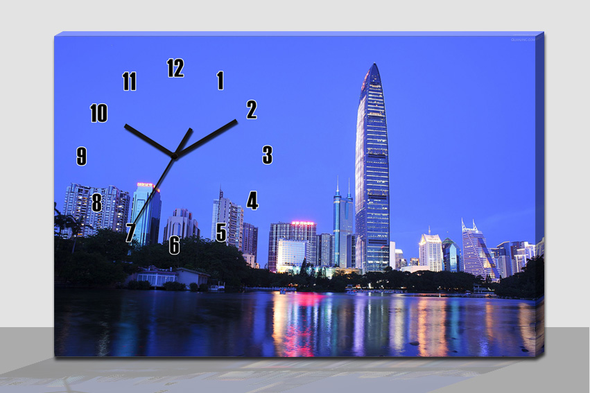 City scenery picture printed on canvas wall clock for bedroom decoration