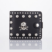 Retro metal multi-functional men's personality punk casual long wallet for men leather