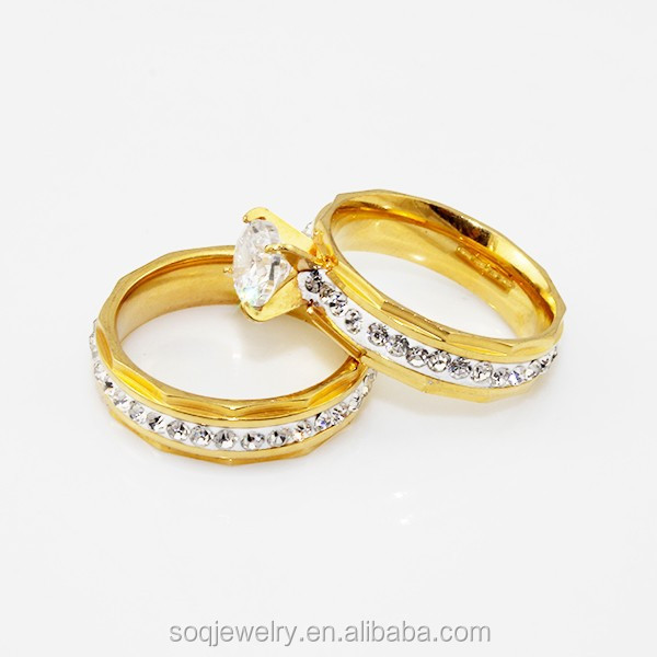 SR0728031 fashion jewlery romantic stainless steel wedding ring set jewelry imported from china