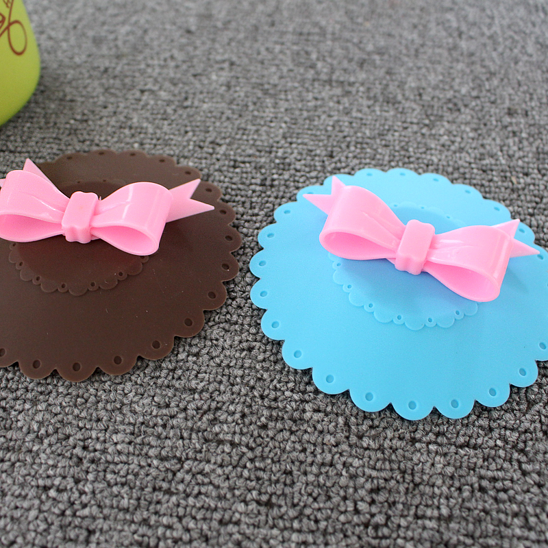 Lovely Butterfly knot Leakproof Silicone Cup Lid Cover and factory price with high quality