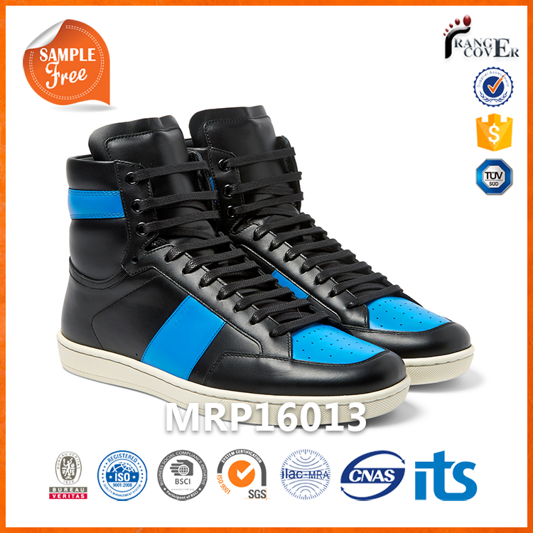 High Top Blue And Black Leather Padded Collars All Stars Sneakers