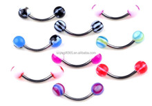 100Pcs/lot Curved Eyebrow Rings Bar Tragus Barbell Body Piercing