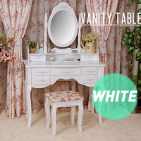 European baroque antique white romantic solid wood bedroom set / dresser table / mirror