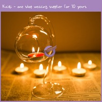 k9954 Fashionable design Clear hanging glass ball dinner candle holder/home decor candle holder