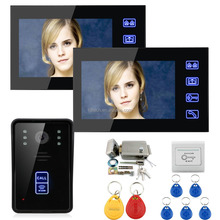 Multi family 7 inch wired video door bell for apartment waterproof intercom