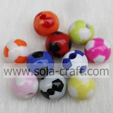 Latest Design Football Style Beads Acrylic 8MM Round Beads Wholesale Loose Beads For DIY Bracelet Making