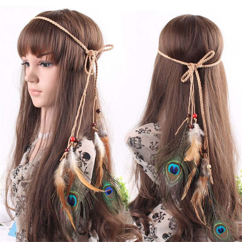 Fashion Bohemia Hair Accessories Wood Beads Peacock Feather Suede Braided  Headband Hair Wrap Hair Band 9394b357e4e
