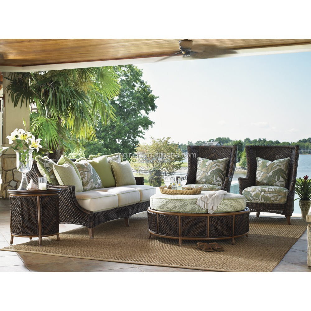 Tropical island design wicker seat sofa and storage