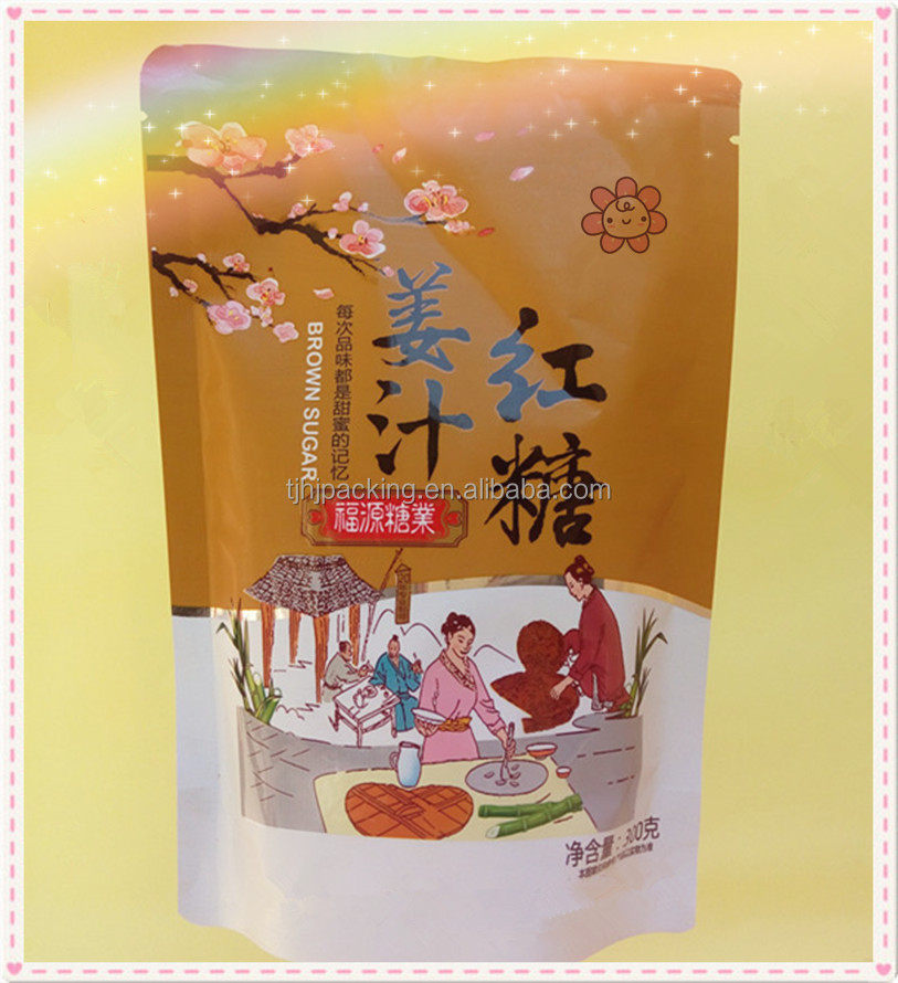 Customized print Stand up and heat seal packaging bag/Ginger brown sugar packaging pouch