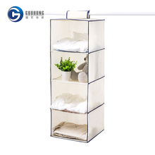 Clothing storage organiser 4-shelf hanging closet organizer