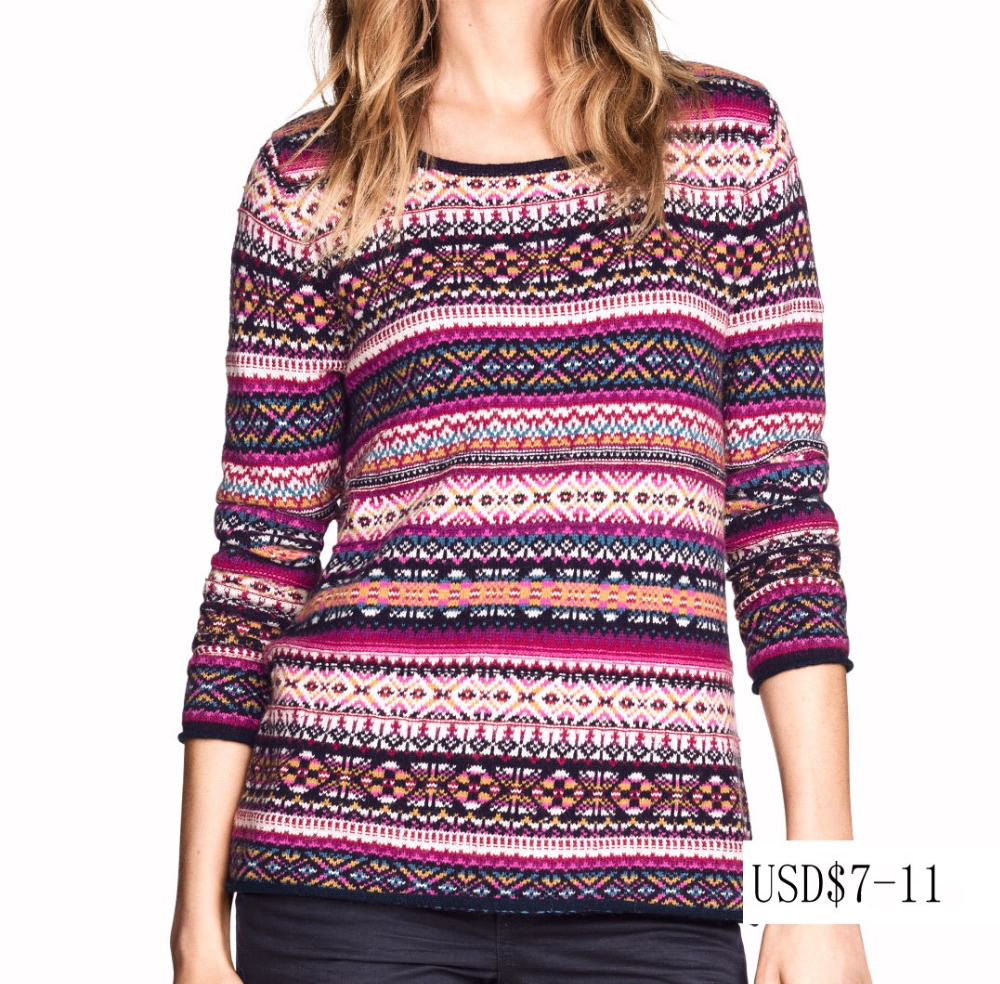 New style popular ladies' round neck 3/4 sleeve pullover all-over colorful jacquard computer knitted sweater made in china