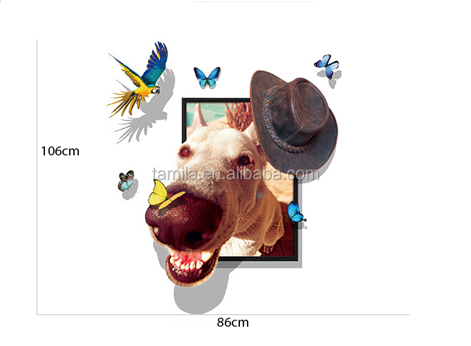 New arrival custom donkey 3d window sticker for living room decoration