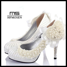 S4232 wedding shoes party shoes dress shoes hand-made pearls ladies pumps high heels