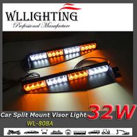 White & Amber Led Windshield Dash Light/ Police Emergency Warning Security Tow Deck Dash LightBar /32 Led Split Visor Light
