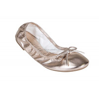 Shiny metallic leather shoe foldable ballet shoes lady wholesale flats made in China