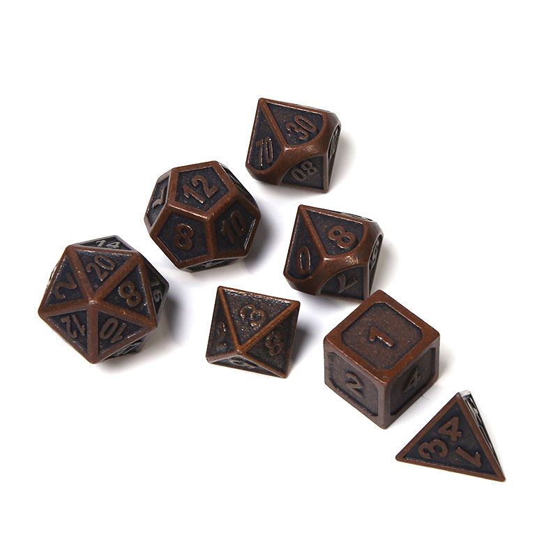 Chengshuo rpg polyhedral metal dice set dungeons and dragons tabletop game digital dice 7pcs <strong>d10</strong> 8 20 dodas rpg d&d bronze color