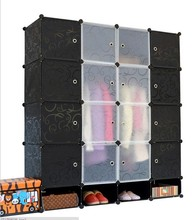 black Plastic Door Covers for Interlocking Cube Storage Shelves / Shoe Rack