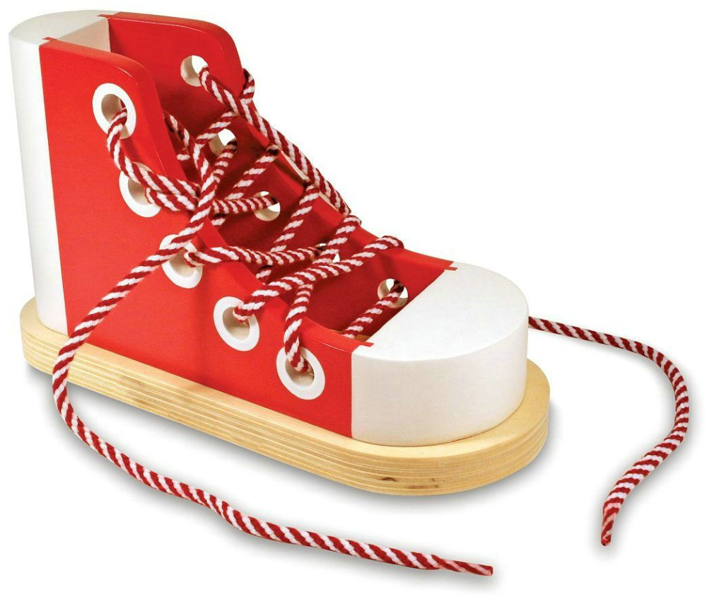 2017 Christmas Promotion Wooden Baby Lacing Shoes