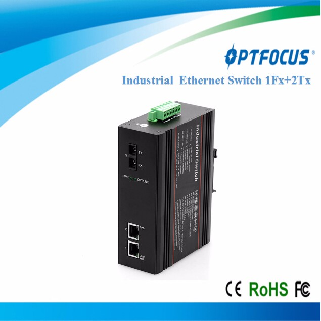 Din Rail or Wall Mount Fiber Optic 10/100M 2 ETH Port-1 Port FX Industrial Switch with SFP Slot