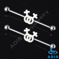 surgical steel industrial barbell ear bar piercing jewelry