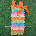 Boutique hot sale bulk wholesale kids clothing, smocked romper, rainbow printed lace romper
