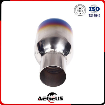 High quality auto Blue-Burnt-Exhaust-Double-Layer-Slant-Tip-Polished-Stainless-2-5-034-In-4-034-Out