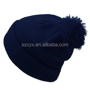 3D embroidery design custom pom pom beanie hats wholesale knitting hat
