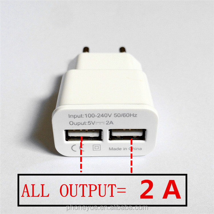Wholesale White EU Plug 2 Dual Port 5V 2A Micro USB Wall Charger for Samsung