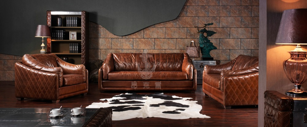 Antique classic design sofa leather furniture living room sofa set A112