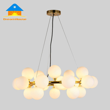 Nordic fashion white glass round ball bubble glass LED chandelier