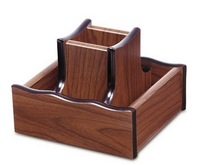 high quality office square wooden pen stand with revolving disk