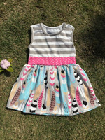 2016 feather dress baby cotton frocks designs boutique children's girl tunic feather dress