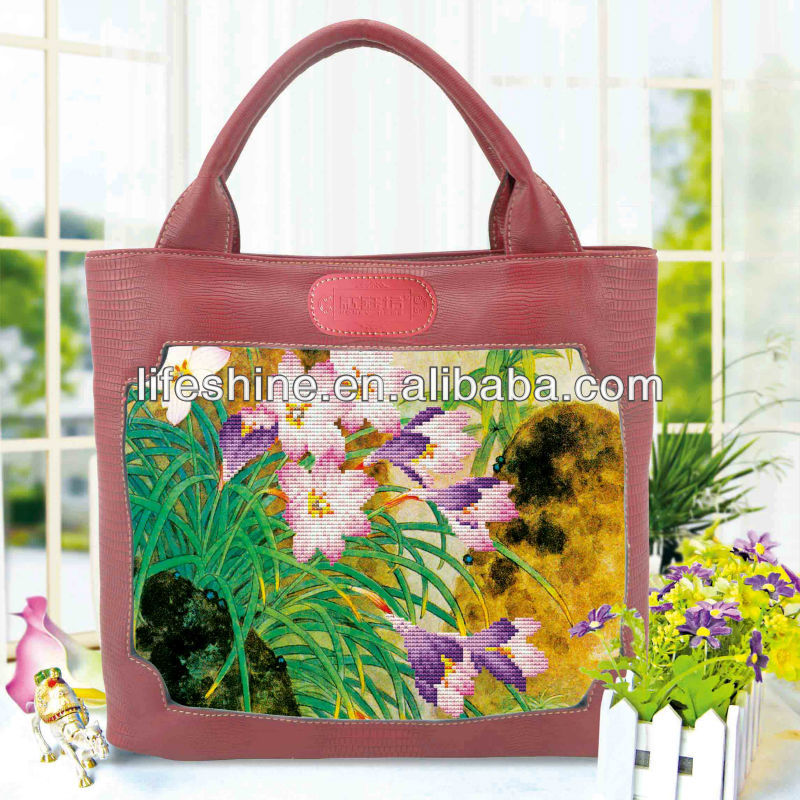 high quality cheap lady bags for cross stitch with beautiful flowers has enjoying great popularity in the world market