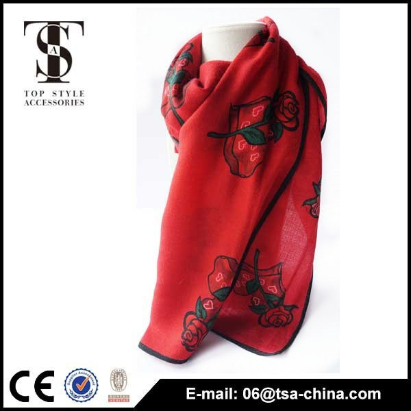 Modern red heart pattern woven scarves wholesale 100% Wool Scarf With rose
