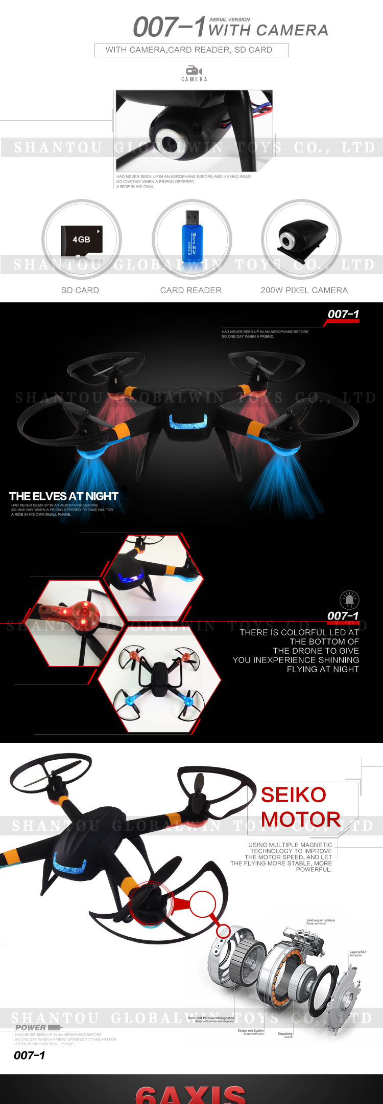 2015 Newest design products rc quadcopter photography professional drone with HD camera flying toy GW-T007-1(one key return)