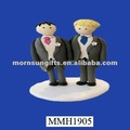 Novelty resin fancy homosexual wedding cake topper