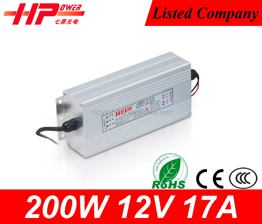 Best price Guangzhou manufturer constant voltage single output 200 watt <strong>17</strong> ampere 12 volt high frequency power supply