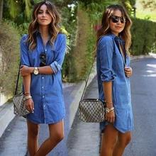 New casual dresses women cool western fashion jean material design ladies latest dress