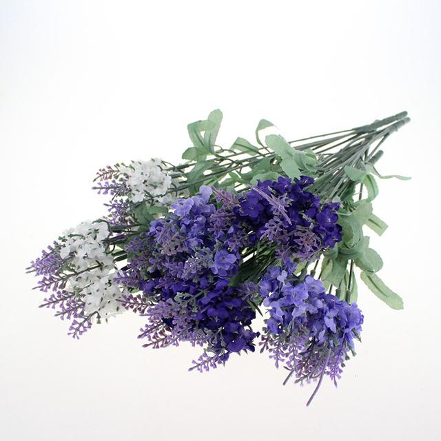 Artificial Flocked Lavender Bouquet in Purple Flowers Arrangements Bridal Home DIY Floor Garden Office Wedding Decor