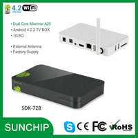 New Dual Core Allwinner A20 Android 4.2 smart TV Media player 1080P WIFI HDMI Skype