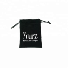Custom Drawstring Black Velvet Pouch With Logo