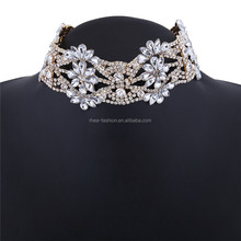 Rhinestones Choker Shiny Sparkly Choker Statement <strong>Necklaces</strong> For Women Fashion Collar Jewelry Party Flower Chunky <strong>Necklace</strong>