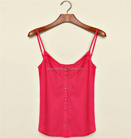 Summer sexy lady lycra crop top red spaghetti strap tops women tank top