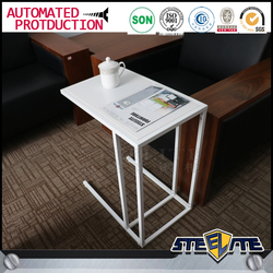 Knock down white small square metal sofa side table