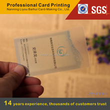 China supplier printing service custom plastic transparent business visiting name card at fast lead time