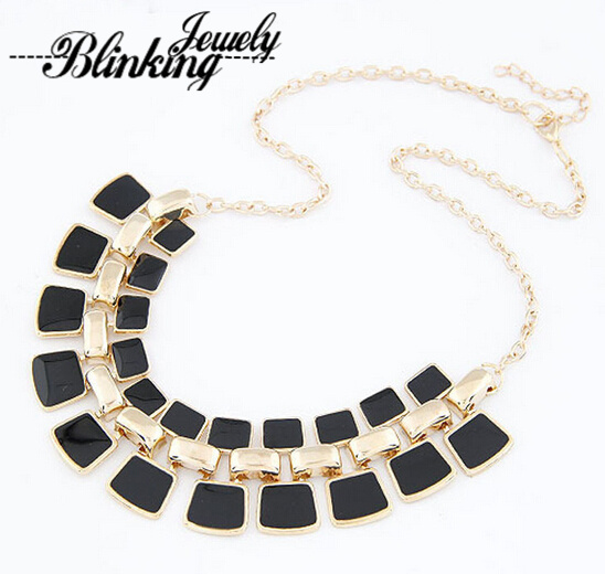 2015 Trendy Necklaces Pendants Link Chain Collar Long Plated Enamel Statement Bling & Fashion Necklace Women Jewelry