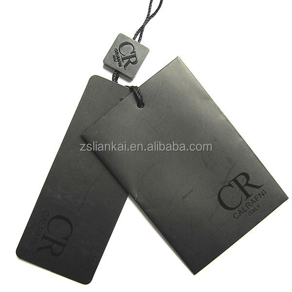 Luxury Customized Black Color Garment Hang Tags with UV stamping